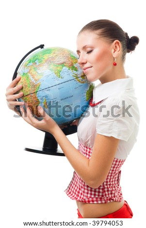Woman love the planet earth giving hug to a globe, isolated