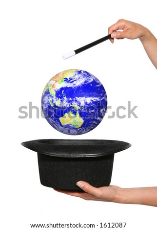 Woman magician holding hat and wand - stock photo