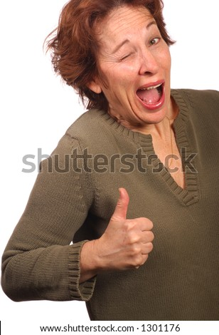 Woman makes a face implying approval - stock photo