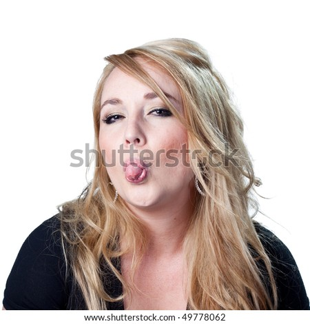 Woman makes a funny face - stock photo