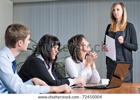 Woman making a business presentation - stock photo