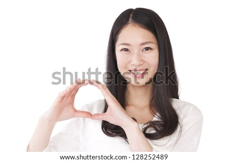 Woman making a circle with hands - stock photo