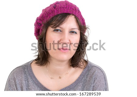 Woman making a judgemental assessment looking at the camera with a pensive analytical expression, isolated on white - stock photo