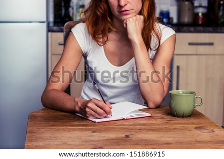 Woman making a shopping list in her kitchen - stock photo