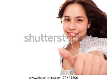 woman making a sign of positivism over white background - stock photo