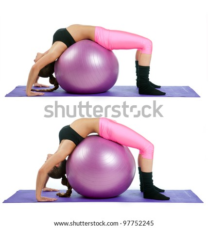 woman making bridge exercise on pilates ball in two steps - stock photo