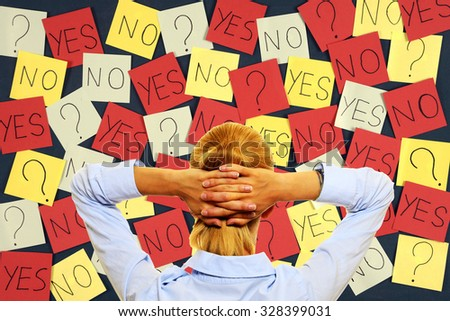 Woman making difficult decision - stock photo