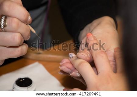 Woman Making Nail Art By Painting Stock Photo Royalty Free