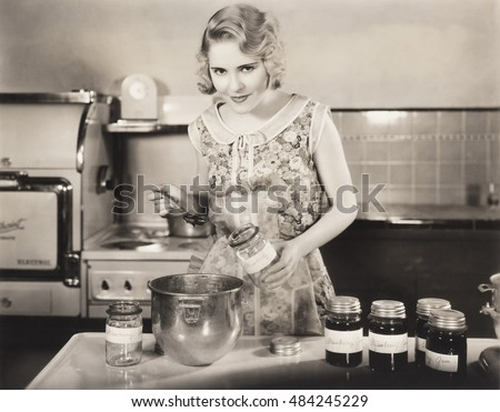 Woman making preserves