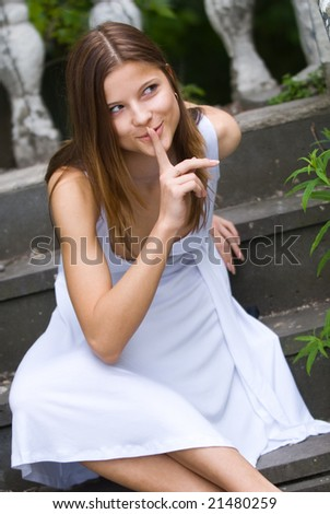 Woman making sh! - stock photo