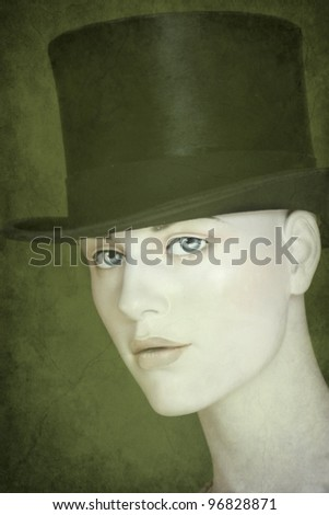 woman mannequin wearing antique haut-de-forme top  hat