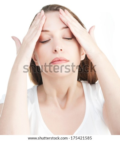 Woman massaging her head isolated on white background - stock photo