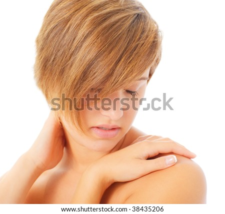 Woman massaging her neck and shoulders, from a complete series of photos.
