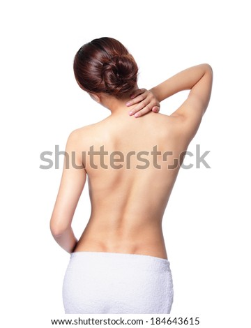 Woman massaging pain back and shoulder isolated on white background, asian - stock photo
