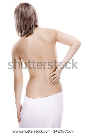 Woman massaging pain back isolated on white background