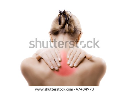 Woman massaging pain neck