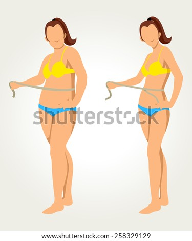 Woman measuring her waist, before and after concept for diet programs, raster version - stock photo