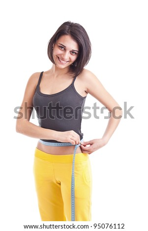 Woman measuring perfect shape of beautiful thigh. Healthy lifestyles concept - stock photo