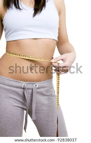 Woman measuring perfect shape of beautiful thigh. She lose weight - stock photo