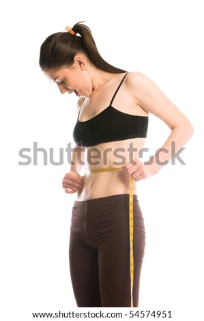 Woman measuring tape around slim beautiful waist, show her slimness and cellulite - stock photo