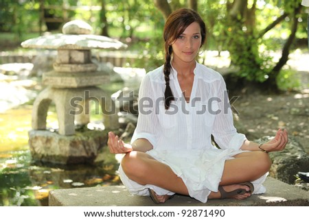 Woman meditating - stock photo
