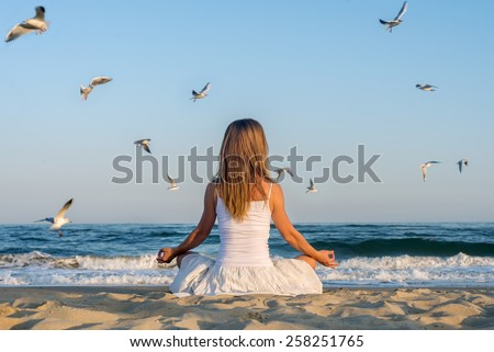 Woman meditating at the sea with flying seagulls - stock photo
