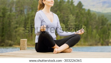 woman meditation and yoga practicing  - stock photo