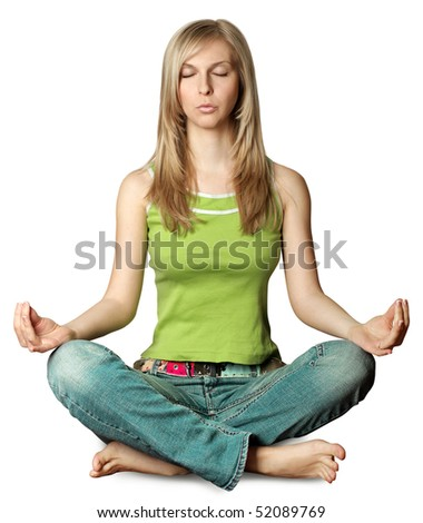 woman meditation in lotus pose isolated on white background - stock photo