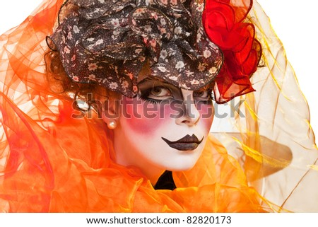 woman mime with theatrical makeup