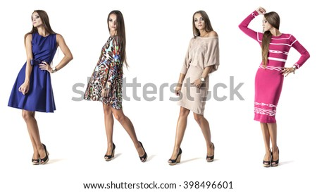 Woman model in short dress in full length in Studio on white background in various poses - stock photo