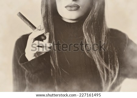 Woman model lady girl secretary teacher boss manager smoking cigar cigarette vintage retro sepia - stock photo