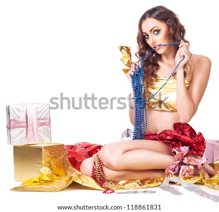 woman model with beauty bright make-up and gift box - stock photo