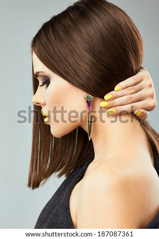 Woman model with long hair. Studio beauty. - stock photo