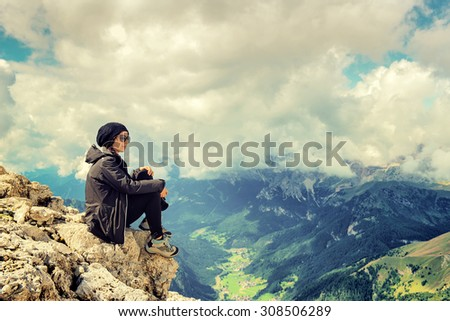 woman mountain - stock photo