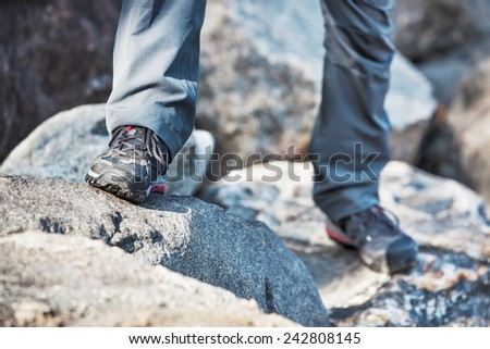 Woman mountains travel. Shoes close-up view. - stock photo