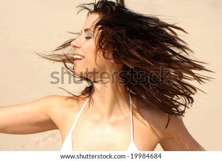 woman moving her head - stock photo