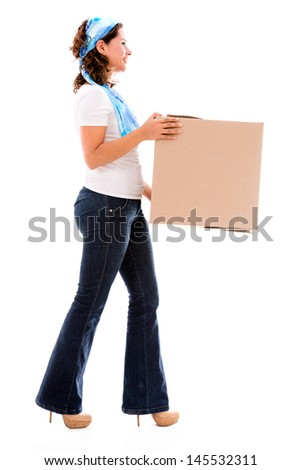 Woman moving house and carrying a box - isolated over white