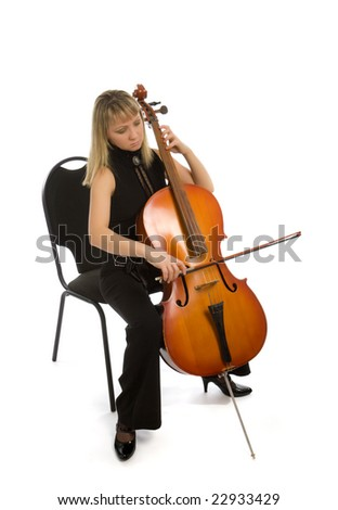 Woman musician with cello isolated on white - stock photo