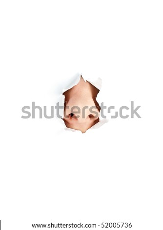 woman nose peeping out from white torn paper