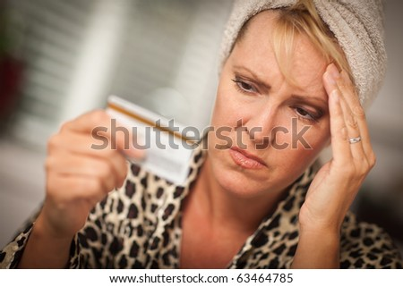 Woman Obviously Very Upset Over Her Credit Card. - stock photo