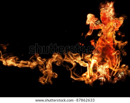 woman of fire dance on black - stock photo