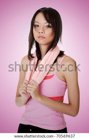Woman of fitness, closeup portrait of Asian beauty. - stock photo