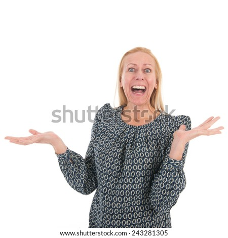Woman of mature age is exciting isolated over white background