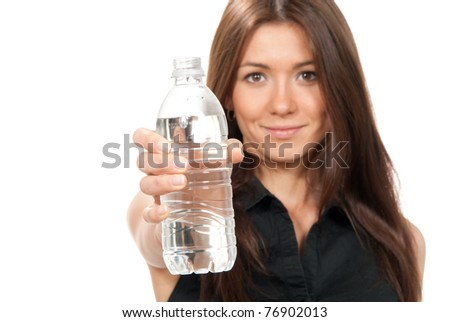 Woman offer and give bottle of pure still drinking water for diet holding in hand sparkling mineral bottled water isolated on a white background - stock photo