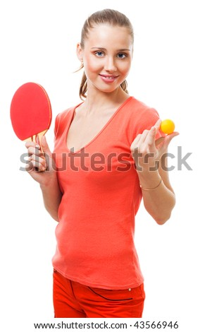 Woman offer to play table tennis holding racket and ball