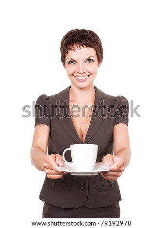 Woman offering you a cup of coffee or tea over white background - stock photo