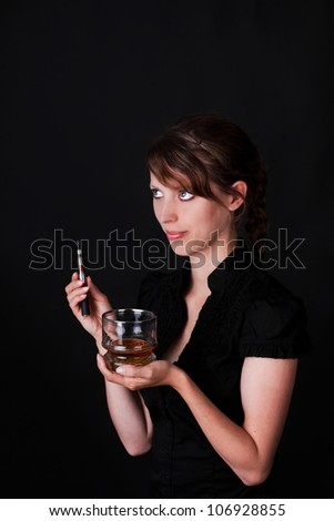 Woman offers drink and a electric cigarette - stock photo
