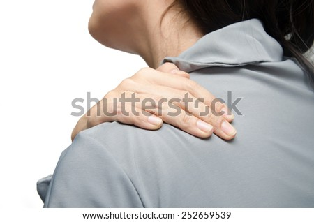 woman officer having neck pain on white background - stock photo