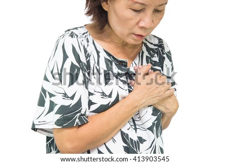woman old suffering from heart attack. - stock photo