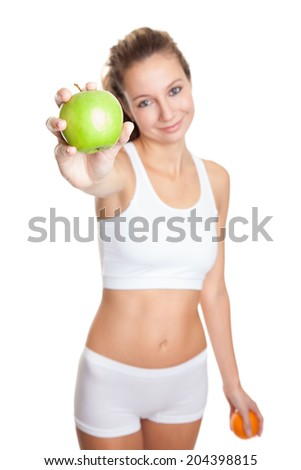 Woman on a healthy diet to keep that perfect body  - stock photo